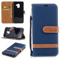 Jeans PU kožené/ textilní pouzdro na mobil Samsung Galaxy A8 (2018) - tmavěmodré