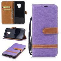 Jeans PU kožené/ textilní pouzdro na mobil Samsung Galaxy A8 (2018) - fialové
