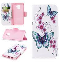 Emotive PU kožené zapínací pouzdro na Samsung Galaxy A8 (2018) - květy a motýlkové