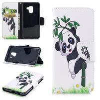 Emotive PU kožené zapínací pouzdro na Samsung Galaxy A8 (2018) - panda na bambusu