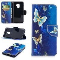 Emotive PU kožené zapínací pouzdro na Samsung Galaxy A8 (2018) - motýlí magie