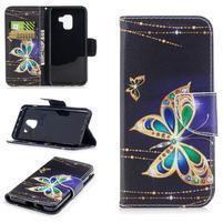 Emotive PU kožené zapínací pouzdro na Samsung Galaxy A8 (2018) - motýl