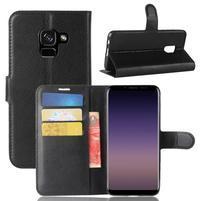 Litchi PU kožené knížkové pouzdro na Samsung Galaxy A8 (2018) - černé