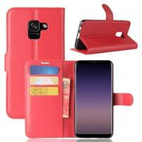 Litchi PU kožené knížkové pouzdro na Samsung Galaxy A8 (2018) - červené