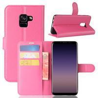 Litchi PU kožené knižkové puzdro na Samsung Galaxy A8 (2018) - rose