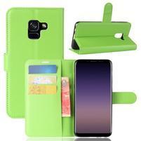 Litchi PU kožené knížkové pouzdro na Samsung Galaxy A8 (2018) - zelené