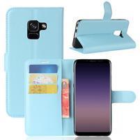 Litchi PU kožené knížkové pouzdro na Samsung Galaxy A8 (2018) - modré