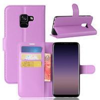 Litchi PU kožené knížkové pouzdro na Samsung Galaxy A8 (2018) - fialové