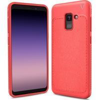 IVS odolný gelový obal s texturovanými zády na Samsung Galaxy A8 (2018) - červený