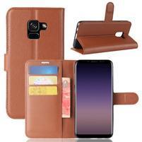 Litchi PU kožené knížkové pouzdro na Samsung Galaxy A8 (2018) - hnědé