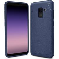 IVS odolný gélový obal s texturovaným chrbtom na Samsung Galaxy A8 (2018) - tmavomodrý
