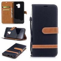 Jeans PU kožené/ textilné puzdro na mobil Samsung Galaxy A8 (2018) - čierne