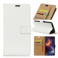 Wallet PU kožené pouzdro na Samsung Galaxy A6+ (2018) - bílé
