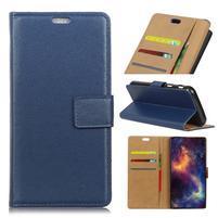Wallet PU kožené pouzdro na Samsung Galaxy A6+ (2018) - modré