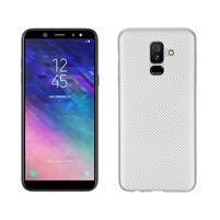 Carbon silikonový obal na Samsung Galaxy A6 Plus - stříbrný