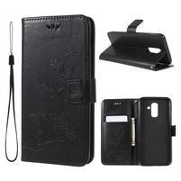 Butterfly PU kožené pouzdro na Samsung Galaxy A6 Plus - černé