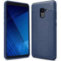 IVS odolný gelový obal s texturovanými zády na Samsung Galaxy A7 (2018) - tmavěmodrý