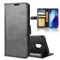Standy PU kožené zapínací pouzdro na Samsung Galaxy A7 (2018) - černé