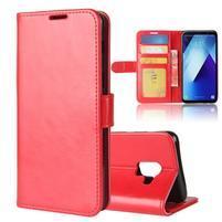 Standy PU kožené zapínací pouzdro na Samsung Galaxy A7 (2018) - červené