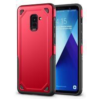 Rougy hybridní odolný obal na Samsung Galaxy A8 Plus (2018) - červený