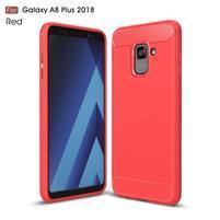 Carbon odolný gelový obal s texturou na Samsung Galaxy A8 Plus (2018) - červený