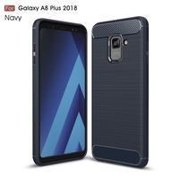 Carbon odolný gelový obal s texturou na Samsung Galaxy A8 Plus (2018) - tmavěmodrý