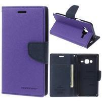 Diary PU kožené peněženkové pouzdro na Samsung Galaxy J3 (2016) - fialové