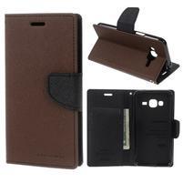 Diary PU kožené peněženkové pouzdro na Samsung Galaxy J3 (2016) - hnědé/černé