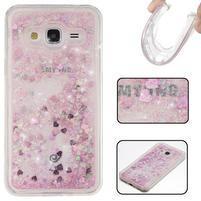 Přesýpací gelový obal na Samsung Galaxy J3 (2016) - růžový
