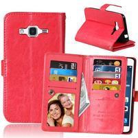 Slots Pu kožené pouzdro s devíti přihrádkami na Samsung Galaxy J3 (2016) - červené