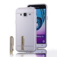 Zrcadlový gelový obal na Samsung Galaxy J3 (2016) - stříbrný