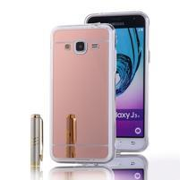 Zrcadlový gelový obal na Samsung Galaxy J3 (2016) - rosegold
