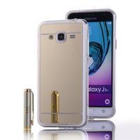 Zrcadlový gelový obal na Samsung Galaxy J3 (2016) - zlatý