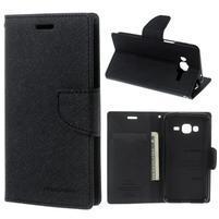 Diary PU kožené peněženkové pouzdro na Samsung Galaxy J3 (2016) - černé