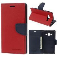 Diary PU kožené peněženkové pouzdro na Samsung Galaxy J3 (2016) - červené