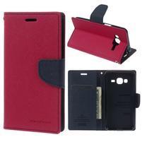 Diary PU kožené peněženkové pouzdro na Samsung Galaxy J3 (2016) - rose