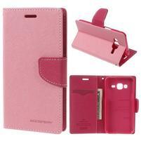 Diary PU kožené peněženkové pouzdro na Samsung Galaxy J3 (2016) - růžové