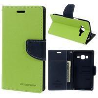 Diary PU kožené peněženkové pouzdro na Samsung Galaxy J3 (2016) - zelené