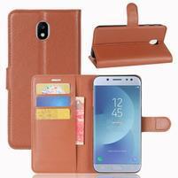 Grain knížkové pouzdro na mobil Samsung Galaxy J3 (2017) - hnědé
