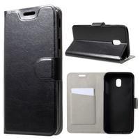 Horse PU kožené peněženkové pouzdro na Samsung Galaxy J3 (2017) - černé