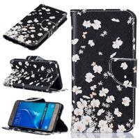 Patty peněženkové pouzdro na Samsung Galaxy J5 (2016) - bílé kvítky