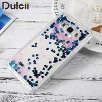 Přesýpací gelový obal na mobil Samsung Galaxy J5 (2016) - modré flitry