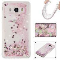 Přesýpací gelový obal na mobil Samsung Galaxy J5 (2016) - růžové flitry