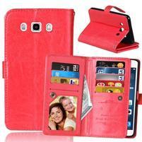 Slots PU kožené pouzdro s 9 přihrádkami na Samsung Galaxy J5 (2016) - červené