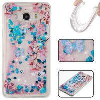 Přesýpací gelový obal na mobil Samsung Galaxy J5 (2016) - motýlci