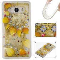Přesýpací gelový obal na mobil Samsung Galaxy J5 (2016) - zlatý věnec