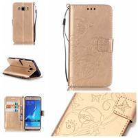 MagicFly PU kožené pouzdro na Samsung Galaxy J5 (2016) - zlaté