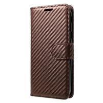 Carbon PU kožené texturované pouzdro na Samsung Galaxy J5 (2017) - hnědé