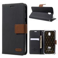 Grain Pu kožené pouzdro na mobil Samsung Galaxy J5 (2017) - černé