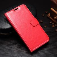 Wallet knížkové PU kožené pouzdro na Samsung Galaxy J5 (2017) - červené